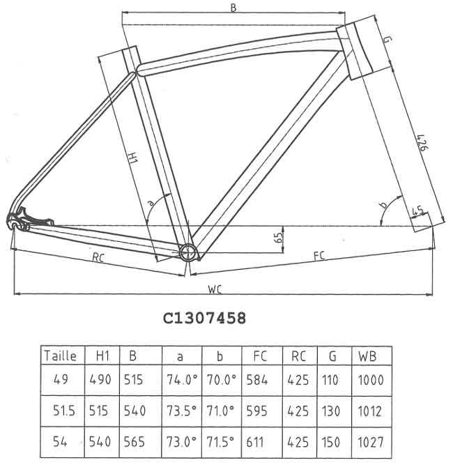 Geométrie Cadre EXS cyclo-cross
